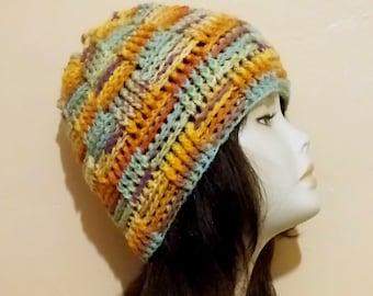 Crochet Boho Hat, Crochet Basketweave Hat, Crochet Textured Hat, Crochet Beanie Hat, Colorful Hat.