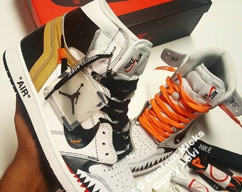 Nike Air Jordan 1 Og Off White X Bape Custom. fa62dd1fbbf3