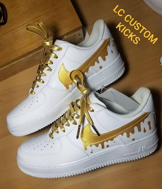 Nike AF1 gold drip custom   Etsy