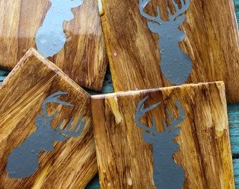 Wood Grain Deer Coasters