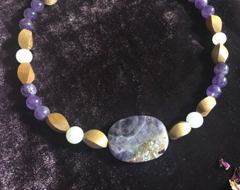 Amethyst, Moonstone and Rosewood Necklace