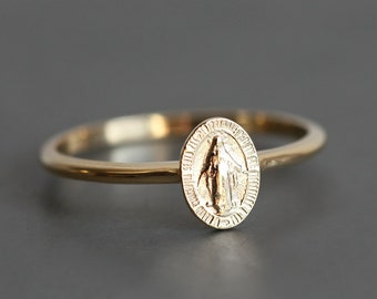 Virgin Mary Ring, Medal Ring, Mary Jewelry, Religious Ring, Miraculous Medal, Blessed Mother Ring, Mother Mary Jewelry, Silver Mary Ring