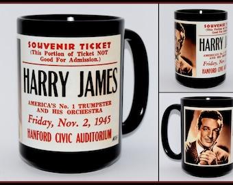 Coffee Mug • Hanford, California • Series 4, Number 16 • Civic Auditorium Souvenir Ticket from 1945 • Harry James • New