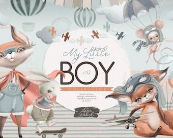 My Little Boy Collection Vol.2 - woodland, animals, boys, vehicle, bunny, deer, fox, bear, cute, scrapbooking, watercolor, kids, clipart