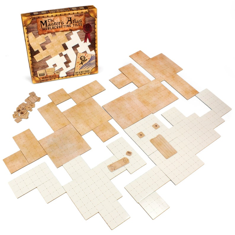 Master's Atlas D&D Dungeon Tiles (Blank/Parchment) | 48 Free Object Tokens  | Reversible, Dry and Wet Erase Grid Tiles for Custom Maps