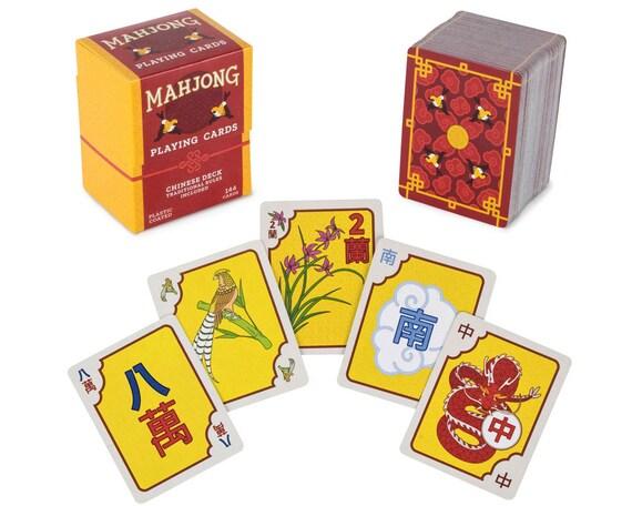 Cartes à jouer Mahjong chinois, en forme de tuile Kards Mahjong chinois avec Custom illustré Art, Instructions incluses