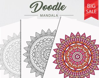 Circle Lotus Mandala Coloring Pages Adult Coloring Pages Etsy
