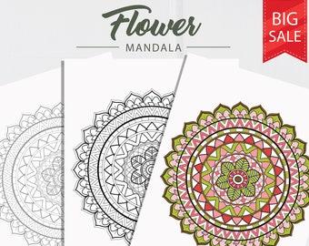 Bohemian Mandala Coloring Page Adult Coloring Page Coloring Etsy