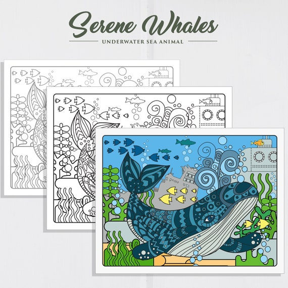 Serene Whale Adult Coloring Page Adult Coloring Page Etsy