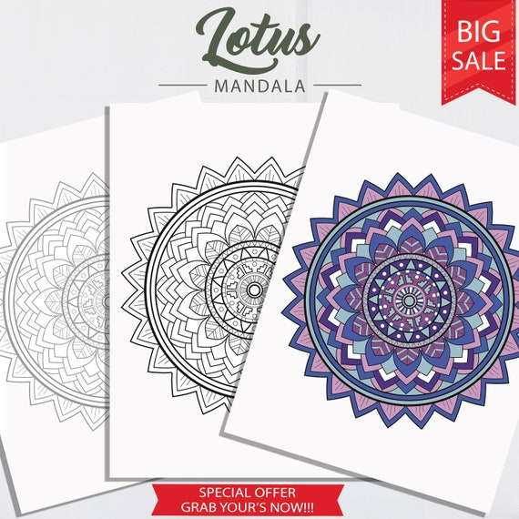 Lotus Mandala Coloring Pages Adult Coloring Pages Coloring Etsy