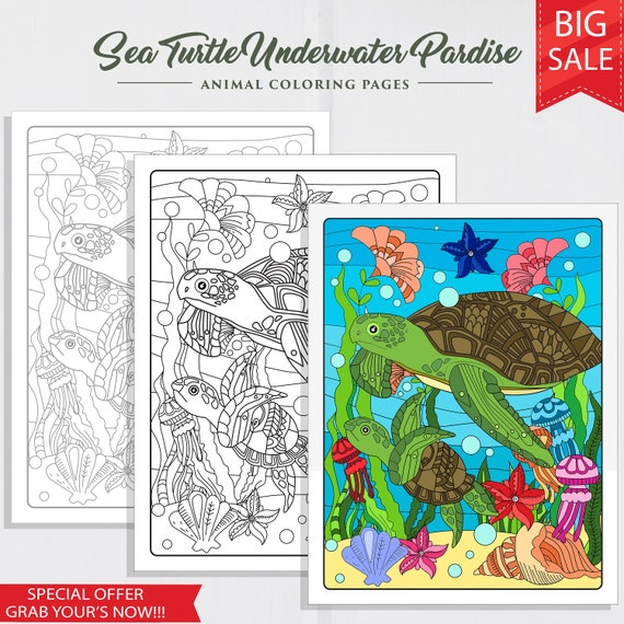 Sea Turtle Underwater Paradise Coloring Page, Adult Coloring Pages, Instant Download, Coloring for Adults, Adult Coloring, Sea Coloring