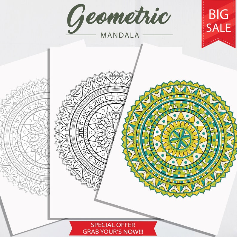 Geometric Mandala Coloring Pages, Adult Coloring Page, Instant Download,  Coloring for Adults, Colouring Pages, Adult Coloring Print