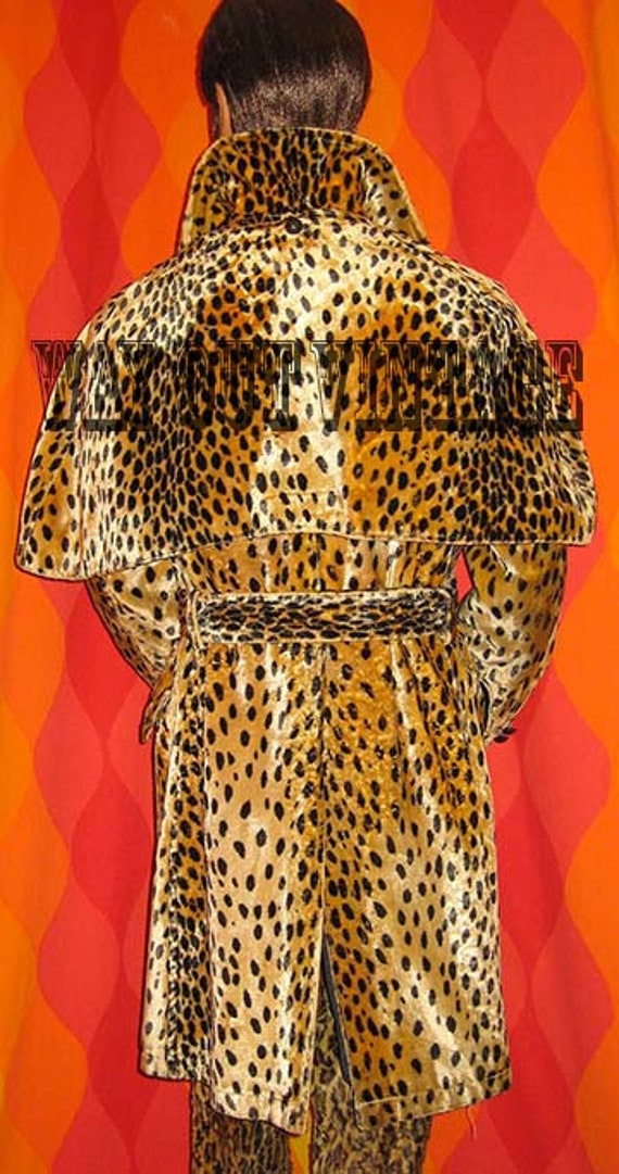 Rare 1960s Mens Leopard Faux Fur Men's Double Bre… - image 3