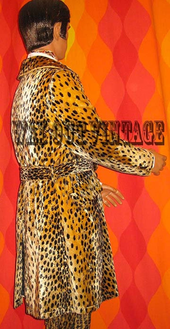 Rare 1960s Mens Leopard Faux Fur Men's Double Bre… - image 6