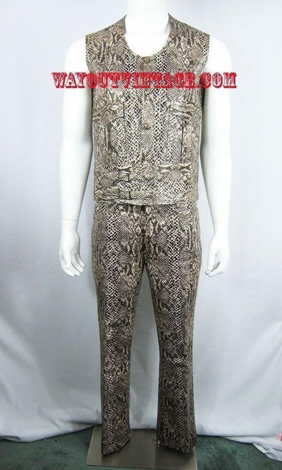 60/% BIG XMAS SALE Vintage 90s Selene Sport Dark Brown Faux Leather Snakeskin Print Shiny High Waist Pants 2 Pc Jacket Suit 10 Medium