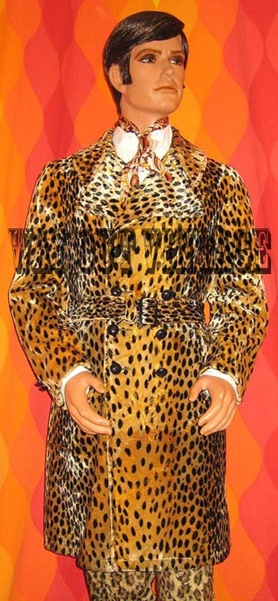 Rare 1960s Mens Leopard Faux Fur Men's Double Bre… - image 5