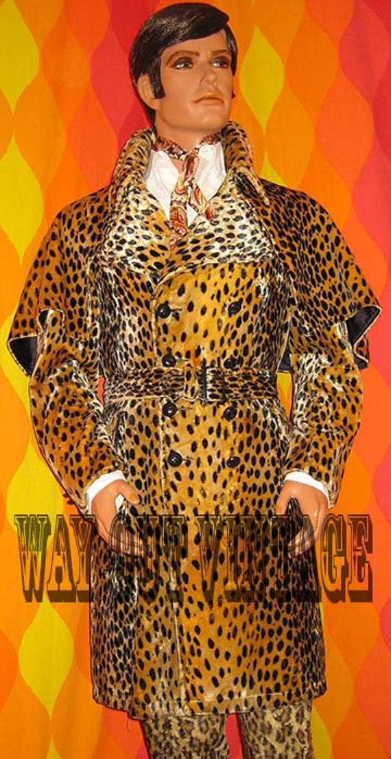 Rare 1960s Mens Leopard Faux Fur Men's Double Bre… - image 1