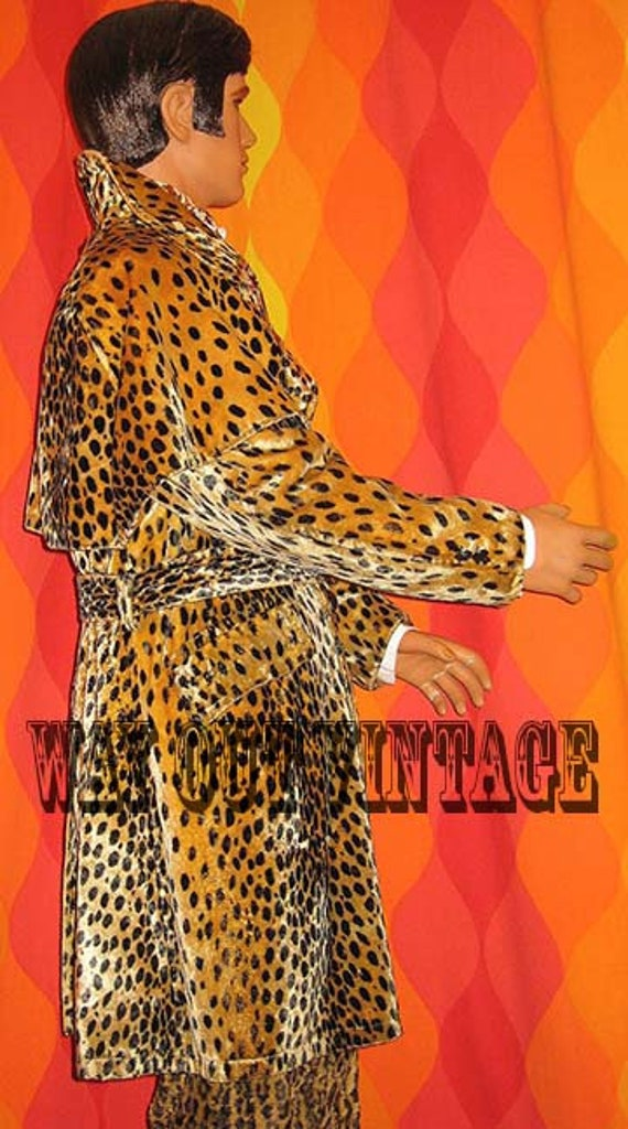Rare 1960s Mens Leopard Faux Fur Men's Double Bre… - image 2