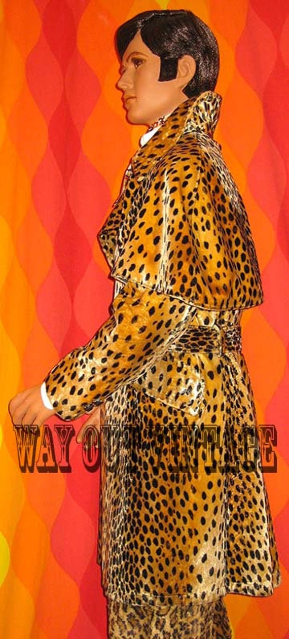 Rare 1960s Mens Leopard Faux Fur Men's Double Bre… - image 4