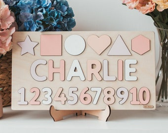 Pastel Name Puzzle With Pegs, Busy Puzzle, Montessori Toys, Wooden Name with Numbers, Baby Shower Gift, Personalized Baby Puzzle