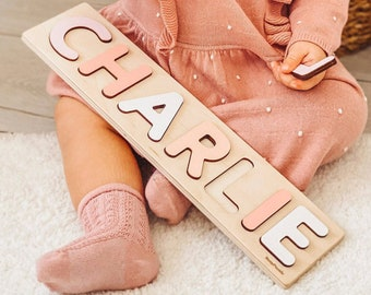 Wooden Name Puzzle by BusyPuzzle | Toddler Toys | Baby Girl Gifts | Gift for Kids | Babys First Christmas Present | Birthday Gifts