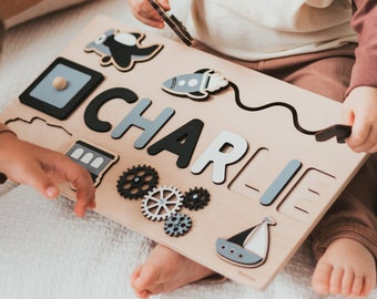 Baby Name Puzzle -  Wooden Busy Board