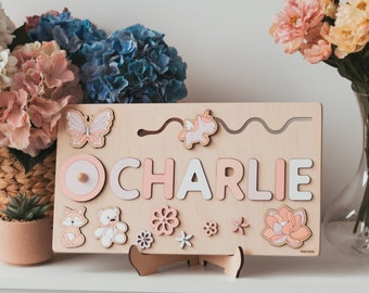 Baby Girl Gift Personalized Name Puzzle First Birthday Gift Wooden Name Puzzle Wooden Toy Childrens Puzzle Personalized Puzzle Wood Puzzle
