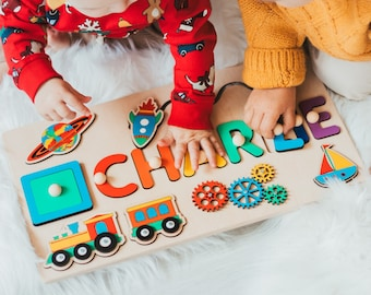 Wooden Busy Board For Boy, Rainbow Room Decor, First Christmas Gift For Toddler, 1st Birthday Gift, Name Puzzle With Pegs, Sensory Activity