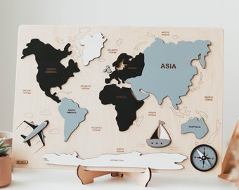 Black and White World Map Puzzle - Baby Gift