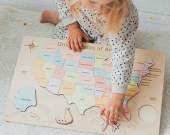 USA Wooden Puzzle - USA Map - Jigsaw Puzzle - Montessori Puzzle