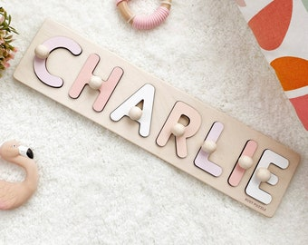 Personalized Name Puzzle With Pegs, New Baby Gift, Wooden Toys, Baby Shower, Christmas Gifts for Kids, Wood Toddler Toys, First Birthday