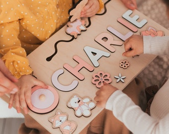 Pink Busy Board for Girls - Name Puzzle for Kids