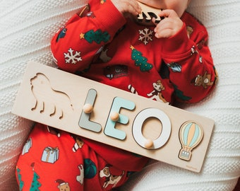 Baby Boy Name Puzzle, Personalized Birthday Gift For Toddlers, First Christmas Gift For Kids, Baby Shower Gift, Newborn Montessori Toys