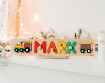 Personalized Wooden Name Puzzle With Train, First Christmas Gift For Toddler, 1st Birthday Boy Gift, Rainbow Nursery Decor