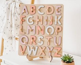 Pink Pastel Wooden Alphabet Puzzle