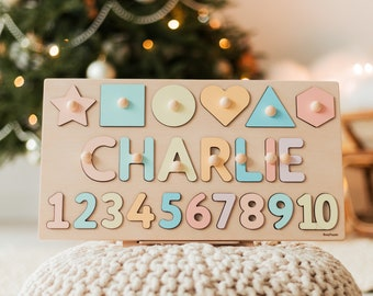 Math Name Puzzle With Shapes & Numbers, Personalized Nursery Decor, 2 Years Old Girl, Custom Christmas Gift, Wooden Birthday Gift