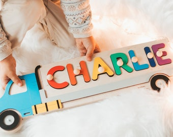 Wooden Name Truck, Personalized Puzzle, Car Name Sign, Christmas Gift, 1st Birthday, Baby Shower Gift, Montessori Toys For Toddlers