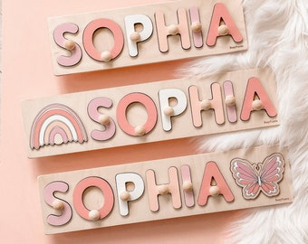 Name Puzzle Girl - Wooden Toy with Butterfly at extra charge - Kids Name Sign - Customized Puzzle