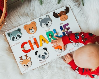 Personalized Name Puzzle With Wodland Animals, First Christmas Gift, Unique Baby Boy Gift, 1st Birthday gift, Wooden Montessori Toddler Toys