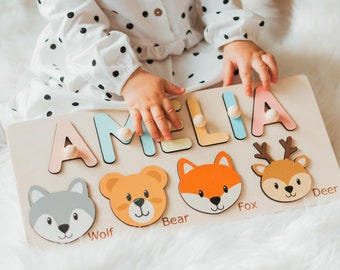 Personalized Board With Woodland Animals, Toddler Christmas Gift, Birthday Girl and Boy Gift, Educational Wooden Montessori Toy, Name Puzzle