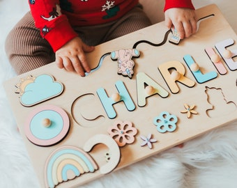 Personalized Busy Board For Girl, Baby First Christmas, 1st Birthday Gift, Toddler Nursery Decor, Wooden Montessori Toys, Kids Name Puzzle