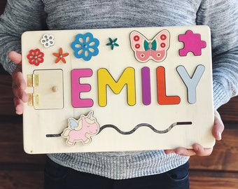 Wooden Toy Baby Girl Gift Personalized Name Puzzle 1st Birthday Wood First