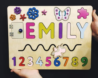 Baby Girl Gift Personalized Name Puzzle First Birthday Wooden Toy Childrens Wood