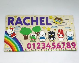 1st Birthday Gift Hello Kitty Wooden Name Puzzle Baby First Christmas Shower Toy