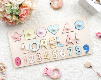 Personalized Gift Name Puzzle for Baby Shower and First Birthday Busy Board