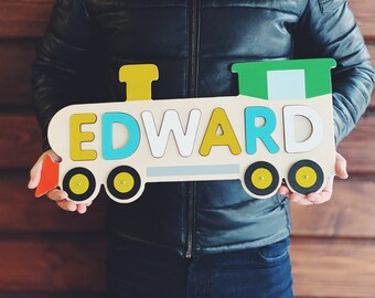 Train Name Puzzle Train Gifts Wooden Train Wooden Toy Baby Name Kids Toys Birthday Gift Engraved Baby Gift Baby Boy Gift Toddler Toys Baby