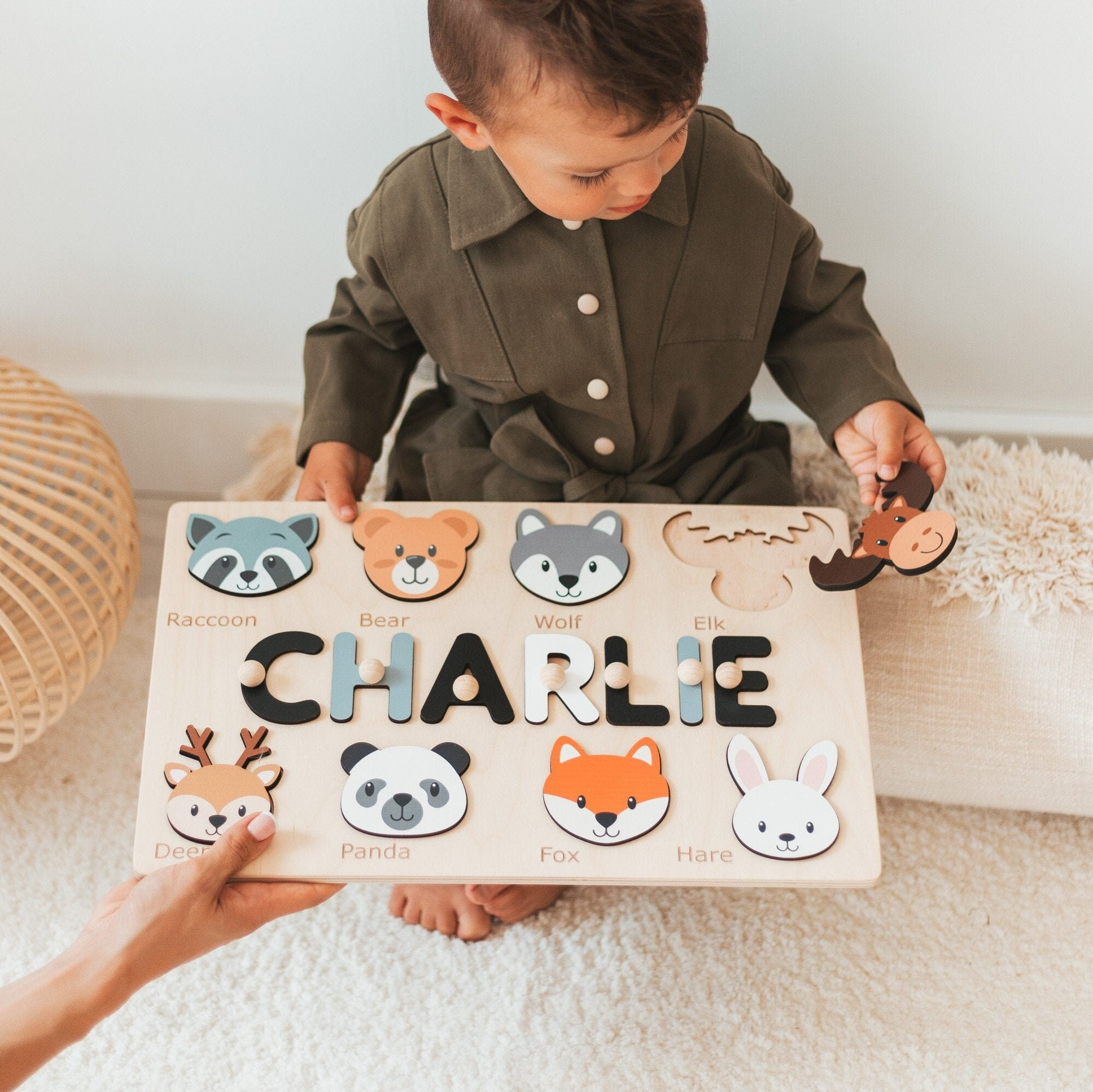 Name Puzzle with Animals, Personalized Puzzle, Toddlers Gift, Custom Animal Toy, Montessori Toys, First Birthday Boy
