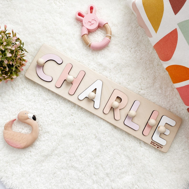 Personalized Name Puzzle With Pegs New Baby Gift Wooden image 0