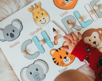 Handmade Wooden Name Puzzle With Animals, Unique Birthday Gift For Kids, Custom Toddler Christmas Gift, Personalized Montessori Toy