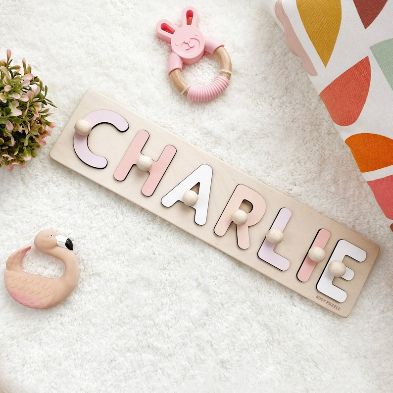 Personalized Name Puzzle With Pegs New Baby Gift Wooden image 1